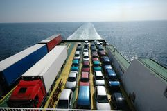 Sailing cars. Cars parked on a ferry Stock Image
