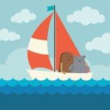 Sailing cartoon figures. Cartoon figures in a sailboat, sailing on the sea Stock Photos