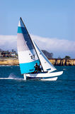 Sailing a Cat. Small catamaran sailing along the California coast stock photography