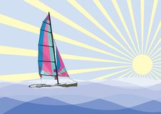 Sailing catamaran. With bright sails in the sea on a background of the sun Stock Images