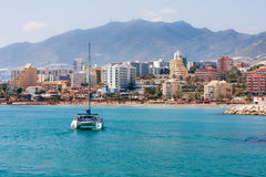 Sailing catamaran in Benalmadena Stock Photos
