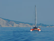 Sailing catamaran in the Ionian Sea. During the 2012 summer Stock Photography