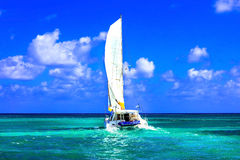 Sailing catamaran in open sea in sunny weather Stock Image