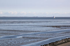 Sailing with catamaran over dutch Waddenzee Royalty Free Stock Photo