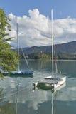 Sailing catamarans moored on Lake Bled, Slovenia. Royalty Free Stock Images