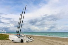 Sailing catamarans without sails on the beach, Cuba, Varadero Stock Image