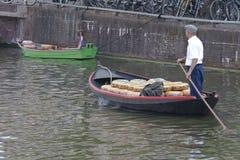 Sailing cheese transport in Alkmaar, Holland Stock Image