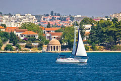 Sailing  in city of Zadar waterfront Royalty Free Stock Images