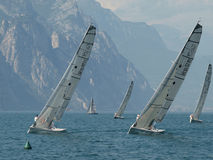 Sailing Class esse 8.50. From 25th to 27th July European Open Malcesine Sailing Class esse 8.50 Malcesine - Lake Garda - italy royalty free stock image