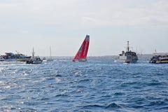 Sailing Close Between Spectator Boats Volvo Ocean Race Alicante 2017 Stock Photos