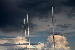 Sailing in the cloudy sky. The sailing in the cloudy sky royalty free stock photos