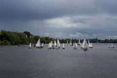 Sailing in cloudy weather Royalty Free Stock Photo