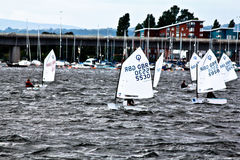 Sailing club boats stock images