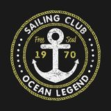 Sailing Club grunge typography for design clothes, t-shirts with anchor and rope. Vintage graphics for print product, apparel. Vector illustration Stock Image
