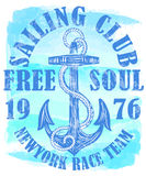 Sailing club logo with anchor. Fashion style Royalty Free Stock Photography
