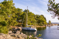 Sailing at the coast of Sweden Stock Image