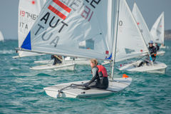 Sailing competition. Boats in sailing competition The Laser EUROPA CUP 2016 Royalty Free Stock Photos