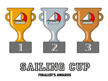 Sailing Cup Finalists Awards in Gold, Silver and Bronze. Vector Symbols Stock Photography