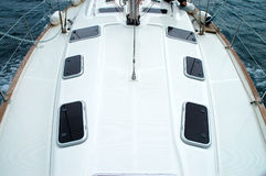 Sailing detail. Detail of sailing yacht seen from above Royalty Free Stock Photography