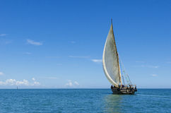 Sailing dhow. Dhow under sail in Zanzibar channel off Bagamoyo, Tanzania, Africa Royalty Free Stock Photo