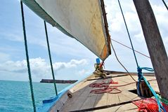 Sailing on a dhow at Mozambique Island. Sailing a dhow on the waters surrounding Mozambique Island Royalty Free Stock Image