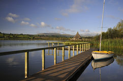 Sailing Dingy and Jetty. Llangorse Lake, Llangorse, Brecon Beacons Stock Photography