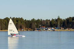 Sailing DN iceboat Stock Photography