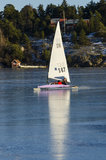 Sailing DN iceboat in Stockholm archipelago Stock Photo