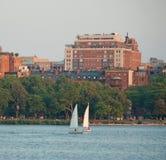 Sailing at Dusk in Boston Massachusetts Stock Photo