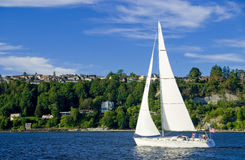 Sailing on Elliott Bay Royalty Free Stock Photo
