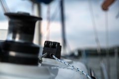 Sailing equipment on white sail boat Stock Photo
