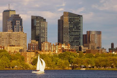 Sailing by the Esplanade. A sailboat glides by the esplanade in Boston, Massachusetts Royalty Free Stock Photography