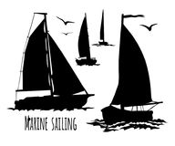 Sailing yacht silhouette set stock illustration