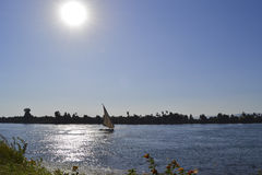 Sailing felluca on the river Nile royalty free stock images
