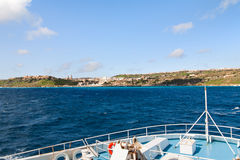 Sailing by ferry to port of Mgarr on the small island of Gozo, Malta. Royalty Free Stock Photos