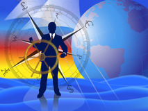 Sailing the financial markets. Businessman/banker/broker calmly navigating the financial markets with international currencies compass and world globe in vector illustration
