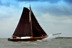 Sailing fishing boat in stormy weather,IJsselmeer,Holland Stock Image