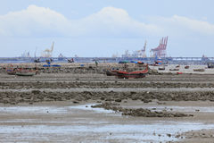 Sailing  and fishing boats lying on the sea floor at low tide. Stock Photos