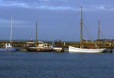 Sailing, fishing ships at bay Royalty Free Stock Photo