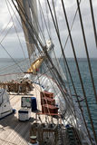 Sailing a five mast clipper Royalty Free Stock Photo