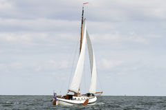Sailing a flatbottom boat Royalty Free Stock Image