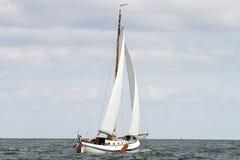 Sailing a flatbottom boat royalty free stock image