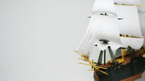 White sails of freedom. In the sailing fleet - a military three-masted ship with full sailing arms with one or two open and closed gun decks.nnThe frigate Stock Photography