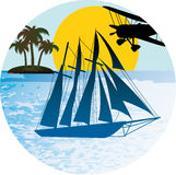 Sailing and flying holidays. Adventure, tropical sea, yachting and flying Stock Photo