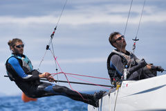 Sailing on Formula 18 national catamaran race. PUNTA ALA - 3 JUNE: athlete sailing on Formula 18 national catamaran race, on June 3 2016 in Punta Ala, Italy Royalty Free Stock Image