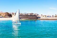 Sailing at the Forte de Bandeira in Lagos Portugal Royalty Free Stock Photos