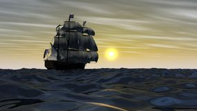 Sailing frigate at the meeting the sun vector illustration