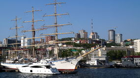 Sailing frigate `Nadezhda`. Golden Horn Bay, Vladivostok, Russia. The sail training ship Nadezhda is the training three-masted frigate owned by the Admiral Royalty Free Stock Photo