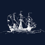 Sailing galleon ship in the ocean in ink line style. Vector hand sketched old warship. Marine theme design. Royalty Free Stock Photos