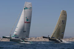 Sailing - Geant and Gitana 11 Trimaran Royalty Free Stock Images